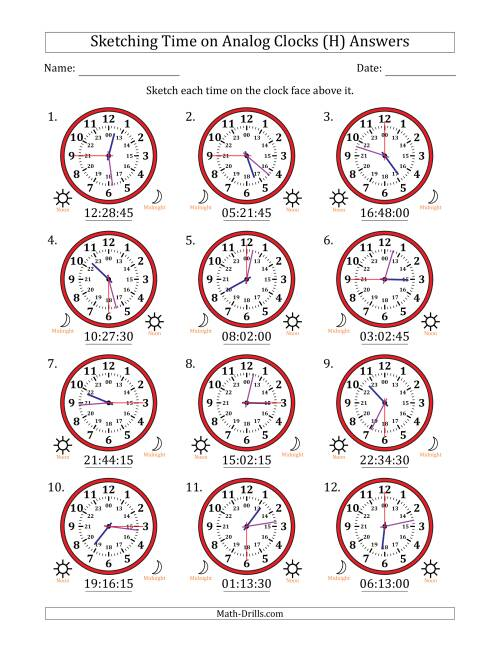 The Sketching Time on 24 Hour Analog Clocks in 15 Second Intervals (H) Math Worksheet Page 2