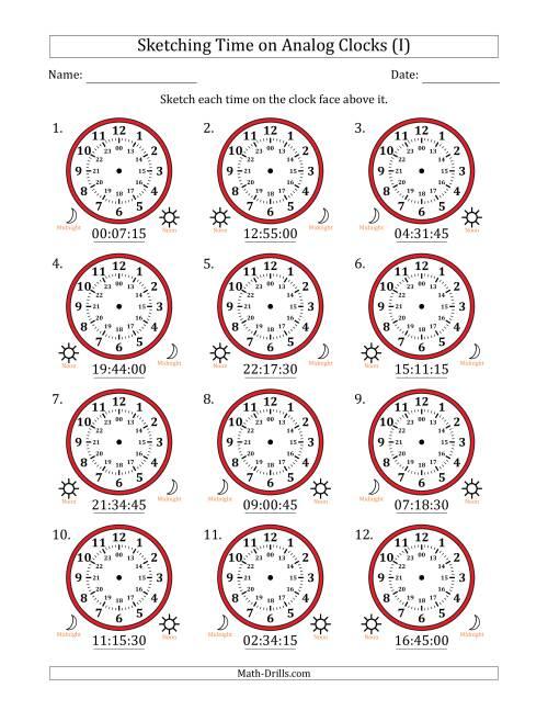 sketching time on 24 hour analog clocks in 15 second intervals i time worksheet. Black Bedroom Furniture Sets. Home Design Ideas