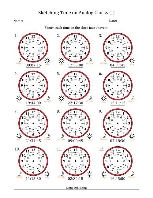 The Sketching Time on 24 Hour Analog Clocks in 15 Second Intervals (I) Math Worksheet