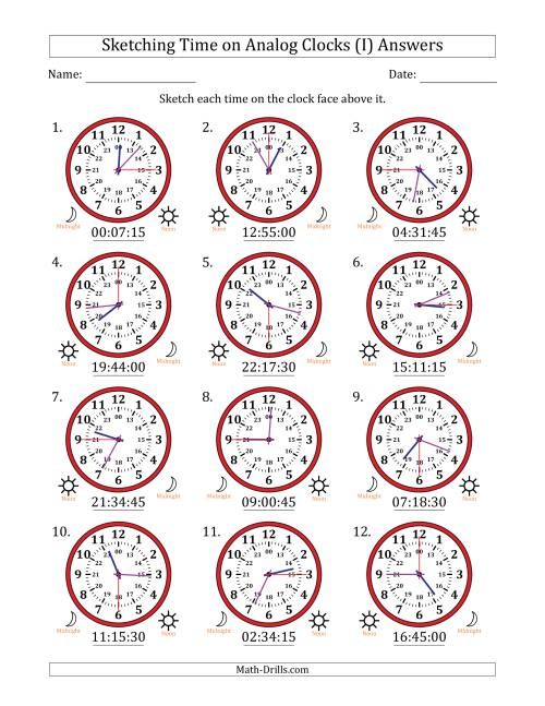 The Sketching Time on 24 Hour Analog Clocks in 15 Second Intervals (I) Math Worksheet Page 2