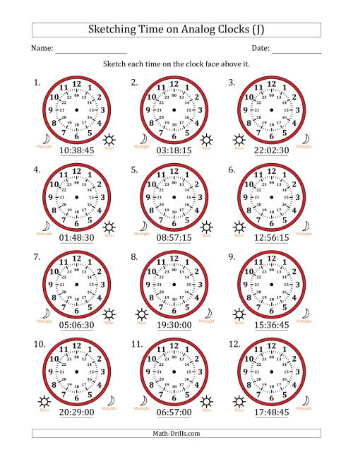 The Sketching Time on 24 Hour Analog Clocks in 15 Second Intervals (J) Math Worksheet