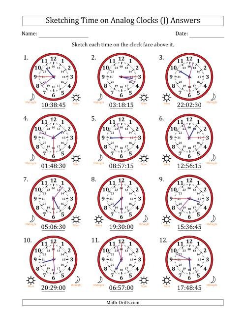 The Sketching Time on 24 Hour Analog Clocks in 15 Second Intervals (J) Math Worksheet Page 2