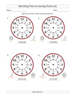 Sketching 24 Hour Time on Analog Clocks in 15 Second Intervals (4 Large Clocks)