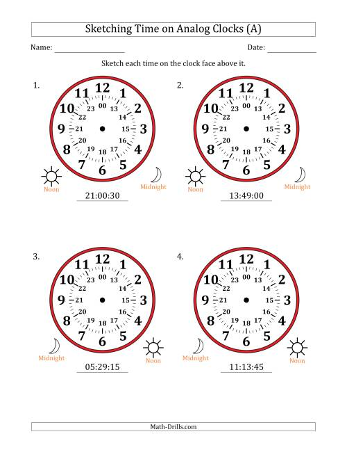 The Sketching Time on 24 Hour Analog Clocks in 15 Second Intervals (Large Clocks) (A) Math Worksheet
