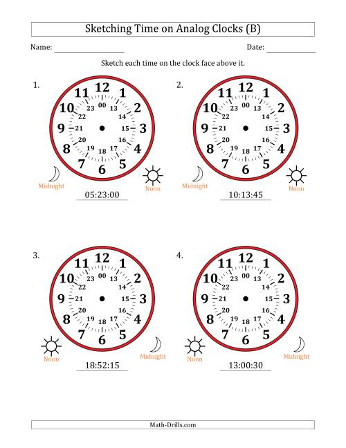 The Sketching Time on 24 Hour Analog Clocks in 15 Second Intervals (Large Clocks) (B) Math Worksheet