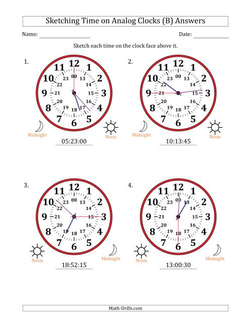 The Sketching Time on 24 Hour Analog Clocks in 15 Second Intervals (Large Clocks) (B) Math Worksheet Page 2