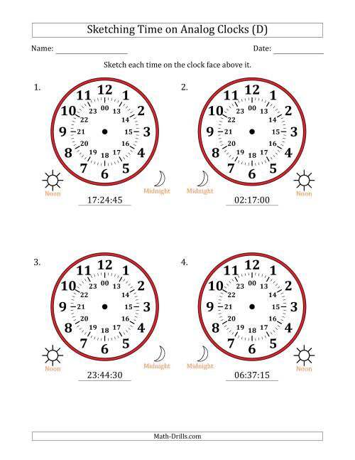 The Sketching Time on 24 Hour Analog Clocks in 15 Second Intervals (Large Clocks) (D) Math Worksheet
