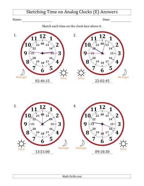 The Sketching Time on 24 Hour Analog Clocks in 15 Second Intervals (Large Clocks) (E) Math Worksheet Page 2