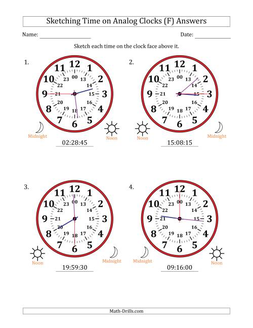 The Sketching Time on 24 Hour Analog Clocks in 15 Second Intervals (Large Clocks) (F) Math Worksheet Page 2