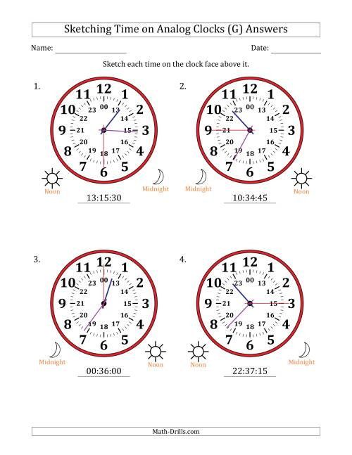 The Sketching Time on 24 Hour Analog Clocks in 15 Second Intervals (Large Clocks) (G) Math Worksheet Page 2