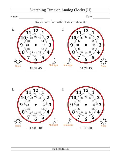 The Sketching Time on 24 Hour Analog Clocks in 15 Second Intervals (Large Clocks) (H) Math Worksheet