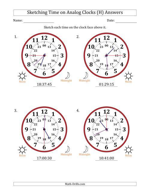 The Sketching Time on 24 Hour Analog Clocks in 15 Second Intervals (Large Clocks) (H) Math Worksheet Page 2