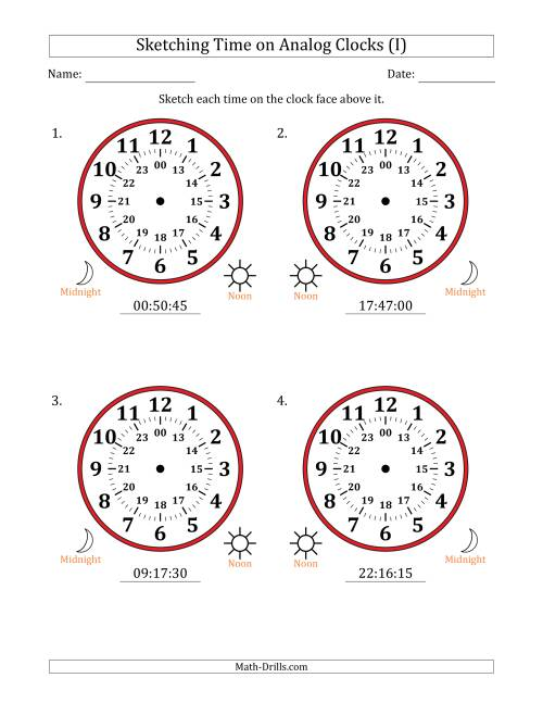 The Sketching 24 Hour Time on Analog Clocks in 15 Second Intervals (4 Large Clocks) (I) Math Worksheet