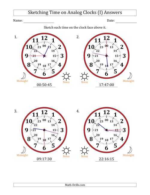 The Sketching 24 Hour Time on Analog Clocks in 15 Second Intervals (4 Large Clocks) (I) Math Worksheet Page 2