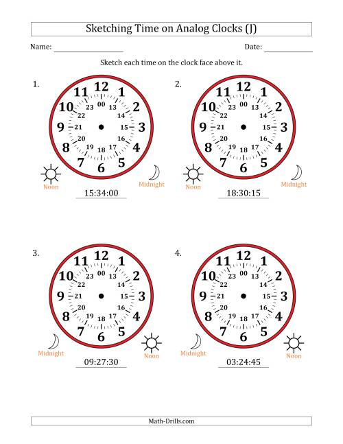 The Sketching 24 Hour Time on Analog Clocks in 15 Second Intervals (4 Large Clocks) (J) Math Worksheet