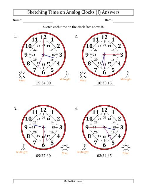 The Sketching 24 Hour Time on Analog Clocks in 15 Second Intervals (4 Large Clocks) (J) Math Worksheet Page 2
