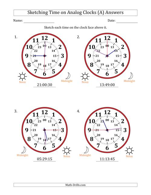 The Sketching Time on 24 Hour Analog Clocks in 15 Second Intervals (Large Clocks) (All) Math Worksheet Page 2