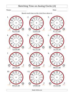 Sketching 24 Hour Time on Analog Clocks in 30 Second Intervals (12 Clocks)