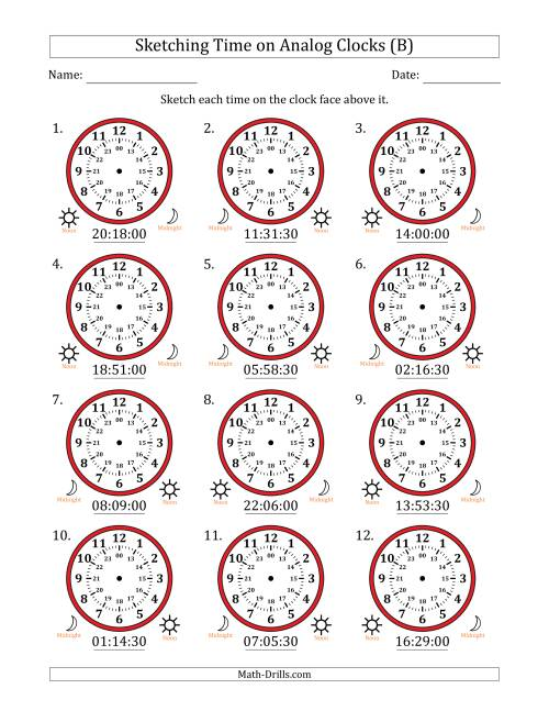 The Sketching Time on 24 Hour Analog Clocks in 30 Second Intervals (B) Math Worksheet