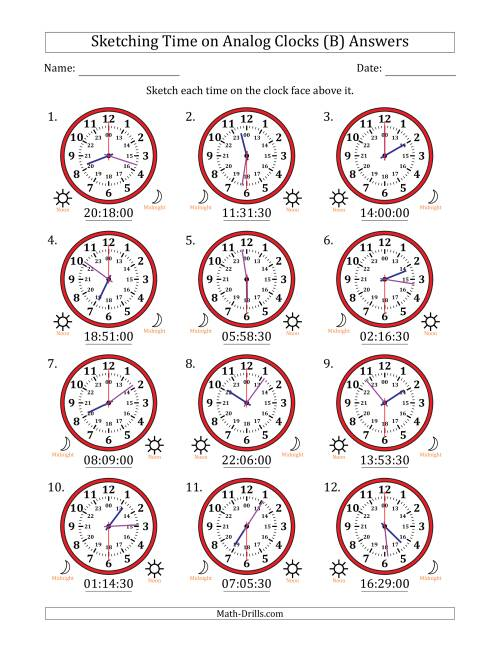 The Sketching Time on 24 Hour Analog Clocks in 30 Second Intervals (B) Math Worksheet Page 2