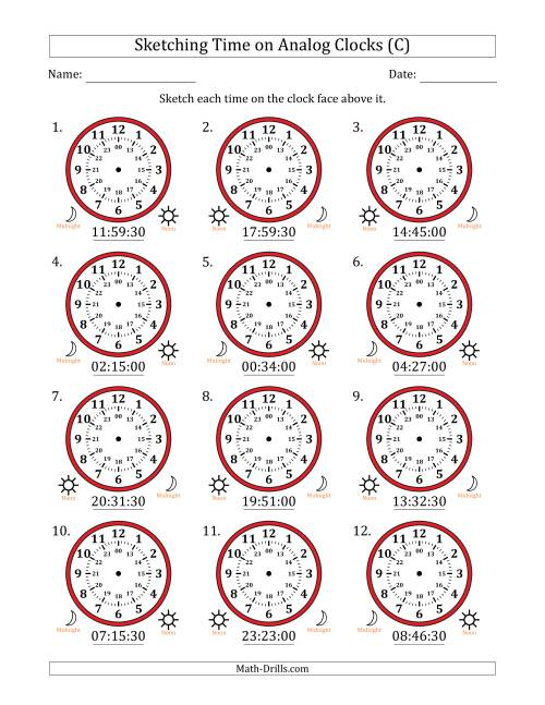 The Sketching Time on 24 Hour Analog Clocks in 30 Second Intervals (C) Math Worksheet