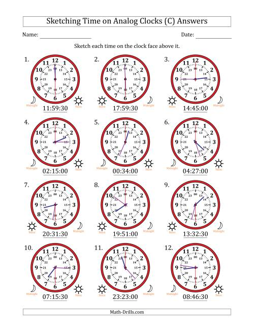 The Sketching Time on 24 Hour Analog Clocks in 30 Second Intervals (C) Math Worksheet Page 2