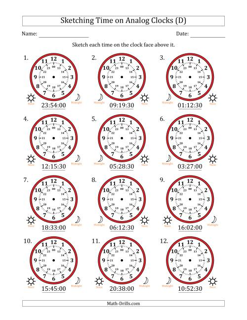 The Sketching Time on 24 Hour Analog Clocks in 30 Second Intervals (D) Math Worksheet