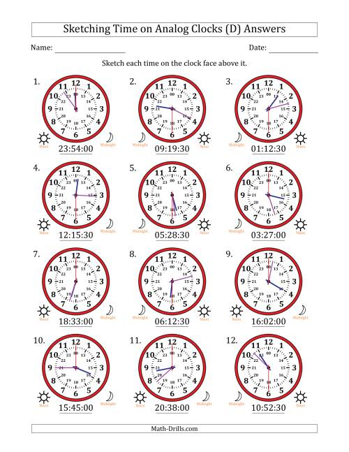 The Sketching Time on 24 Hour Analog Clocks in 30 Second Intervals (D) Math Worksheet Page 2