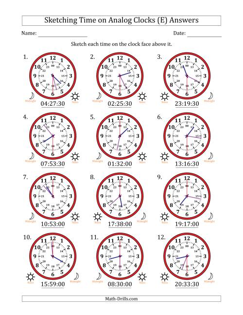 The Sketching Time on 24 Hour Analog Clocks in 30 Second Intervals (E) Math Worksheet Page 2