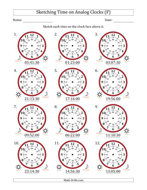 The Sketching Time on 24 Hour Analog Clocks in 30 Second Intervals (F) Math Worksheet
