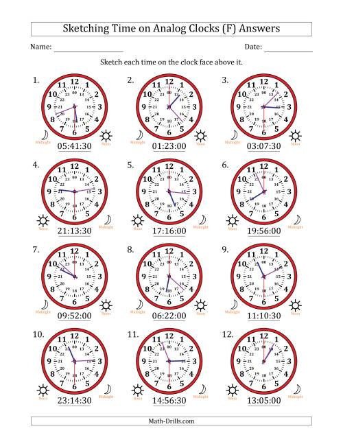 The Sketching Time on 24 Hour Analog Clocks in 30 Second Intervals (F) Math Worksheet Page 2