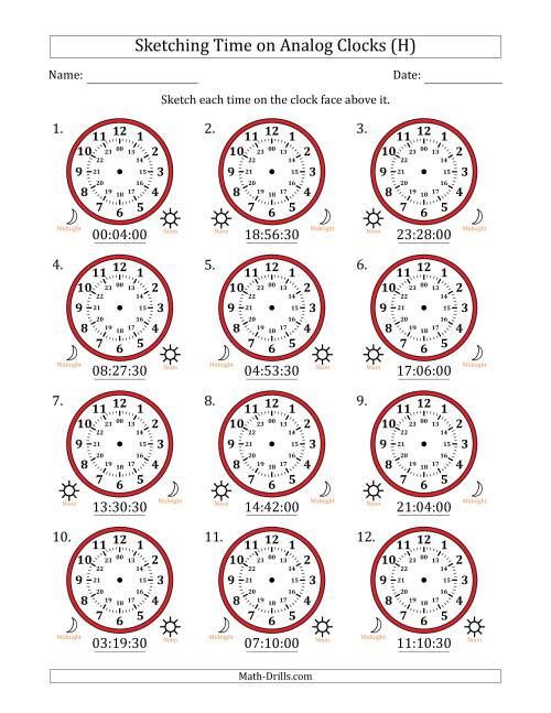 The Sketching Time on 24 Hour Analog Clocks in 30 Second Intervals (H) Math Worksheet