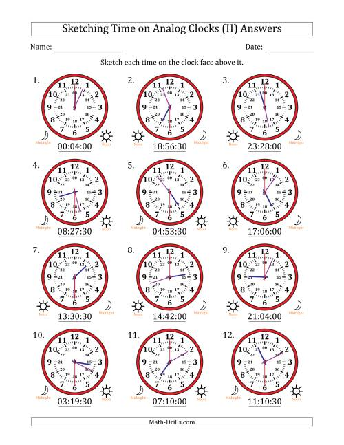 The Sketching Time on 24 Hour Analog Clocks in 30 Second Intervals (H) Math Worksheet Page 2