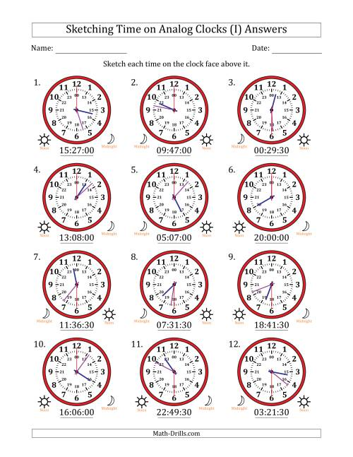 The Sketching Time on 24 Hour Analog Clocks in 30 Second Intervals (I) Math Worksheet Page 2
