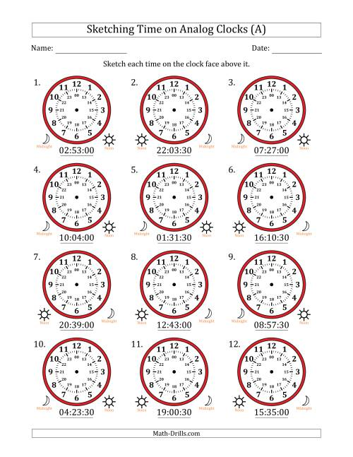 The Sketching Time on 24 Hour Analog Clocks in 30 Second Intervals (All) Math Worksheet