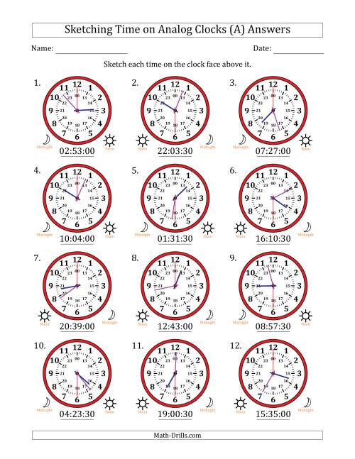 The Sketching Time on 24 Hour Analog Clocks in 30 Second Intervals (All) Math Worksheet Page 2