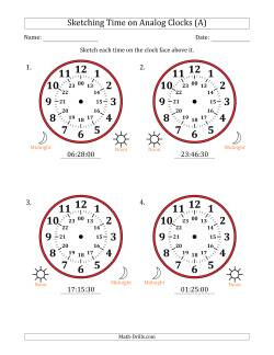 Sketching 24 Hour Time on Analog Clocks in 30 Second Intervals (4 Large Clocks)