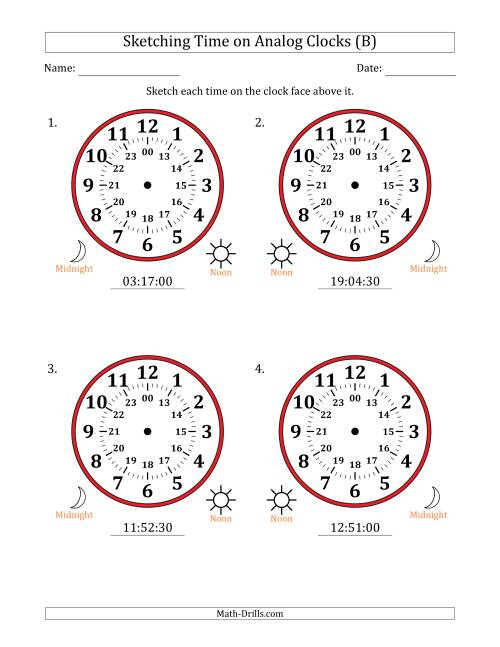 The Sketching Time on 24 Hour Analog Clocks in 30 Second Intervals (Large Clocks) (B) Math Worksheet