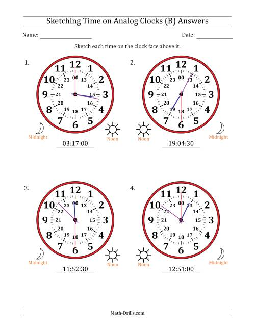 The Sketching Time on 24 Hour Analog Clocks in 30 Second Intervals (Large Clocks) (B) Math Worksheet Page 2