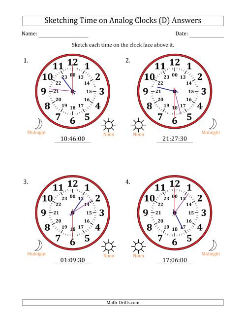 The Sketching 24 Hour Time on Analog Clocks in 30 Second Intervals (4 Large Clocks) (D) Math Worksheet Page 2