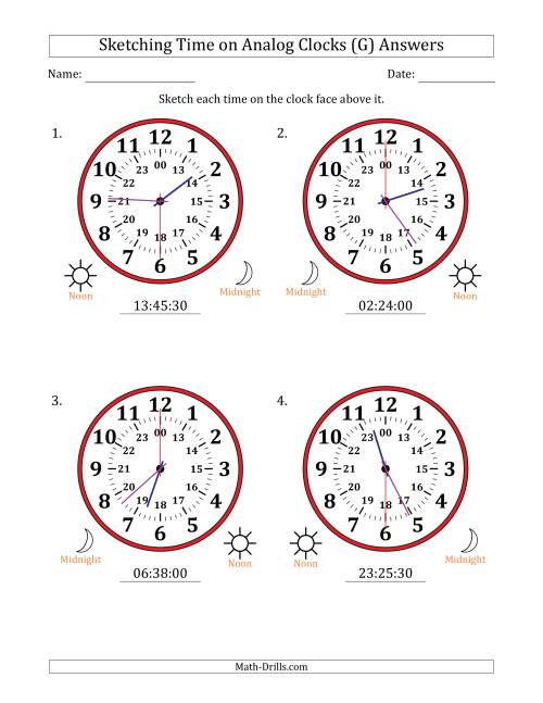 The Sketching Time on 24 Hour Analog Clocks in 30 Second Intervals (Large Clocks) (G) Math Worksheet Page 2