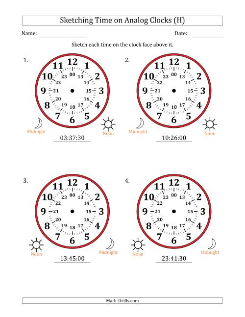 The Sketching Time on 24 Hour Analog Clocks in 30 Second Intervals (Large Clocks) (H) Math Worksheet