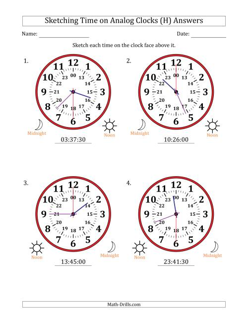 The Sketching Time on 24 Hour Analog Clocks in 30 Second Intervals (Large Clocks) (H) Math Worksheet Page 2
