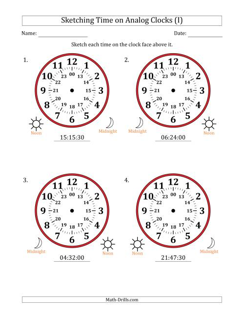 The Sketching Time on 24 Hour Analog Clocks in 30 Second Intervals (Large Clocks) (I) Math Worksheet