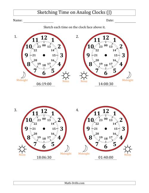 The Sketching Time on 24 Hour Analog Clocks in 30 Second Intervals (Large Clocks) (J) Math Worksheet