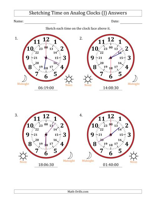 The Sketching Time on 24 Hour Analog Clocks in 30 Second Intervals (Large Clocks) (J) Math Worksheet Page 2