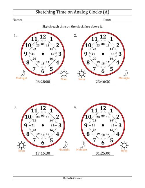 The Sketching Time on 24 Hour Analog Clocks in 30 Second Intervals (Large Clocks) (All) Math Worksheet