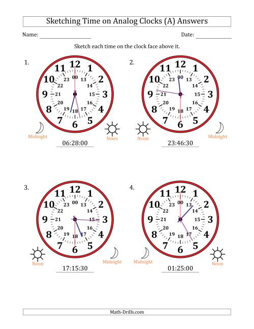The Sketching Time on 24 Hour Analog Clocks in 30 Second Intervals (Large Clocks) (All) Math Worksheet Page 2