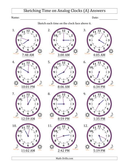 The Sketching Time on Analog Clocks in 1 Minute Intervals (A) Math Worksheet Page 2