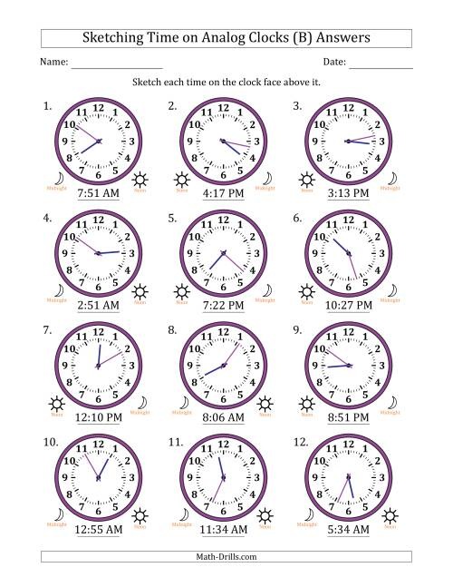 The Sketching 12 Hour Time on Analog Clocks in 1 Minute Intervals (12 Clocks) (B) Math Worksheet Page 2